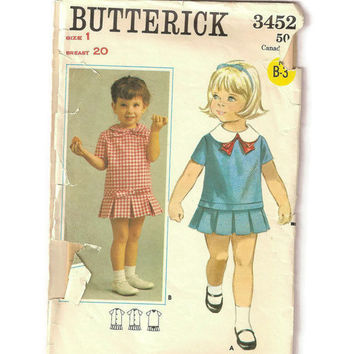 Vintage Child's Dress Pattern, Butterick 3452 1960s One Piece Low Waisted Dress Size 1, Mod Dress Pattern, Vintage Pattern, Short Sleeve