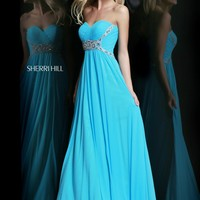 Sherri Hill 3904 Strapless Chiffon Prom Dress