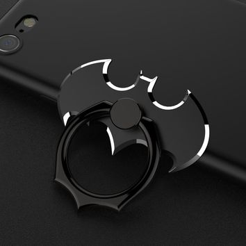 New Luxury Batman Aluminum Metal Universal Finger Ring Smartphone Mobile Cell Phone Hand Desk Stand Holder Repeated 360 Rotating