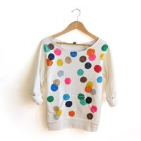 Supermarket: Colorful Confetti - Hand Stenciled Scoop Neck Heather Sweatshirt in Cream Multi Rainbow from Alyssa Zukas
