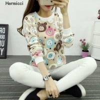 New Winter Long Sleeve Totoro Kawaii Tracksuit Fashion Pullover Hoodies 2016 Harajuku Cute Pink Sweatshirt Women