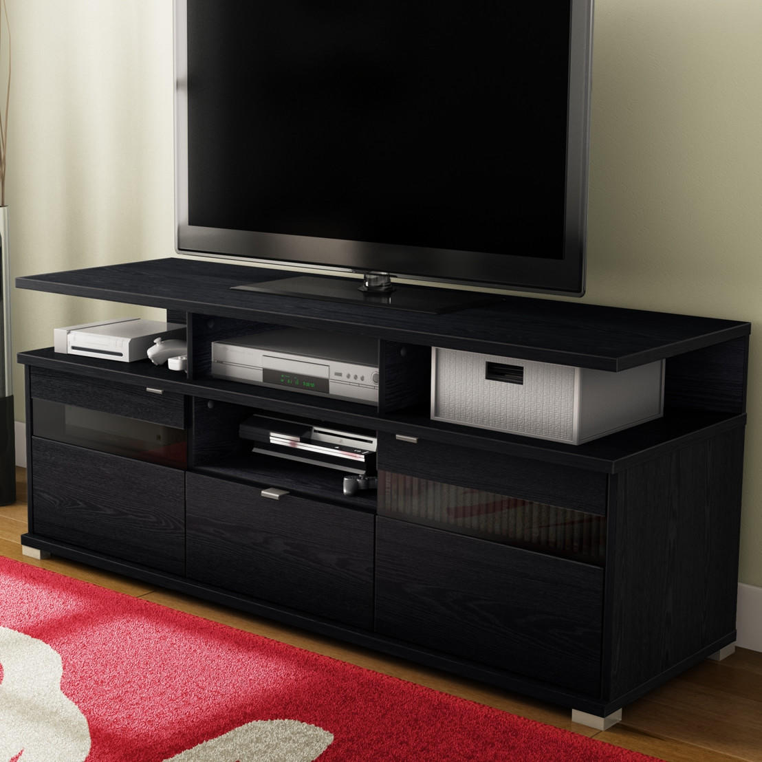 Modern Tv Stand In Black Black Oak Finish From Hearts Attic