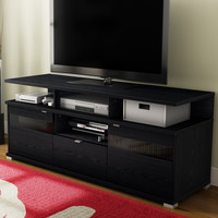 Modern TV Stand in Black Black Oak Finish - Holds up to 60-inch TV