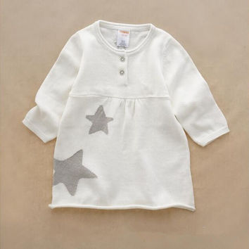 YWP040 Retail 2015New Autumn Fashion Baby Girl Sweater Dress Embroidery Stars Toddler Girl Pullover Knitted Girl Clothes Lolita