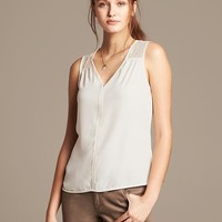 Banana Republic Womens Pieced Lace Tank Size L - Cocoon
