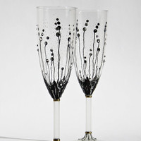 Wedding Glasses Hand Painted Champagne Flutes Set Of 2 Black Gold Swarovsky crystals
