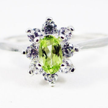 Small Peridot Oval Halo Ring Sterling Silver, August Birthstone Ring, Oval Peridot Gemstone Ring, Oval Halo Ring