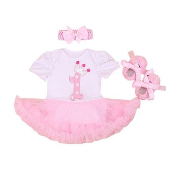 3PCs per Set Baby Girl Infant Clothing Number 1 Crown First Birthday Tutu Dress Headband Shoes for 0-18Months