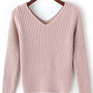 Pink V-Neck Ribbed Sweater