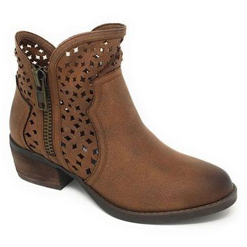 ICIKAB3 Not Rated Etta Tan Cut-Out Ankle Booties