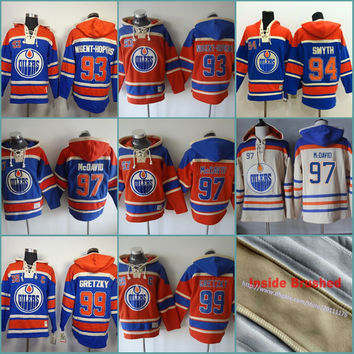 Orange 93 Ryan Nugent-Hopkins 97 Connor McDavid 94 Ryan Smyth Mens Edmonton Oilers Custom Hockey Hoodie Stitched Jersey Hoodies Sweatshirts