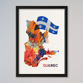 Quebec Canada FRAMED Watercolor Map Wall Art Decor Fine Art Giclee Print Gift Poster Home Decor Wall Hanging