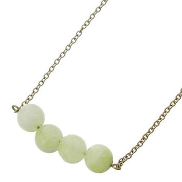 4 Bead Petite Natural Stone Necklace Stone Necklace- Aqua Jade