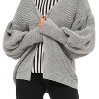 Topshop Pleated Balloon Sleeve Cardigan | Nordstrom