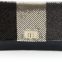 ELLIOTT LUCCA CORDOBA BLACK MESH CLUTCH W/DETACHABLE CHAIN STRAP DILLARDS $108
