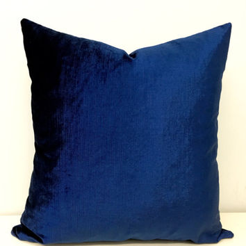 Navy Velvet Pillow Cover,Velvet Pillow,Velvet Cushion,Throw Pillow,Decorative Pillow,Bright Navy Pillow,Navy Blue Couch Velvet Pillow Covers