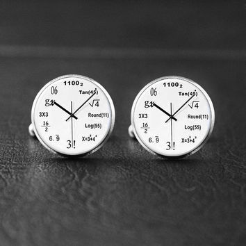 Math-Physics Cufflinks, Clock Panel, Graduation Cufflinks,Party Jewelry