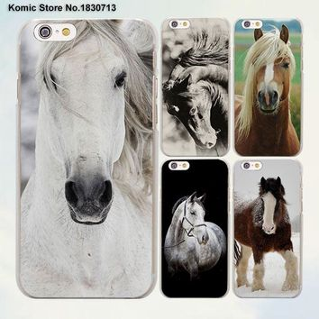 Running Horse clydesdale horse design transparent clear Cases Cover for Apple iPhone 6 6s Plus 7 7Plus SE 5 5s 4s 5c