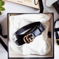 Copy of GUCCI fashion new classic double smooth metal buckle belt women and men leather belt
