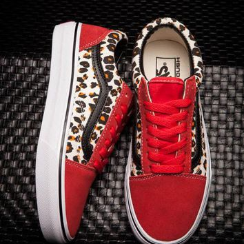 79547b79679f80 Vans Japan Old Skool DX V36CL Women Red Leopard Shoes Canvas Suede Shoes  B-CSXY