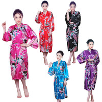Womens SILK Bath Robe Floral Peacocok design Sexy Feel Pink Kimono Japanese