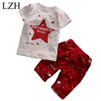 LZH 2017 Summer Baby Boys Clothes Toddler Boys Clothing Sets Kids Star Print Short Sleeved T-Shirts+Shorts Children Clothes Suit