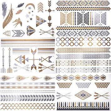 Cokohappy Metallic Temporary Tattoos,6 Different Sheets of Bling Gold Silver,Love Feather Hamsa Arrow Bracelets Necklace Armbands Ring Fake Jewelry Tattoos,Sexy Body Art Long Lasting for Men Women
