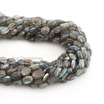 Labradorite Smooth Oval Beads Semiprecious Wholesale Beads Gemstone Beads A+ Grade, 6x9mm, 35 cm Strand