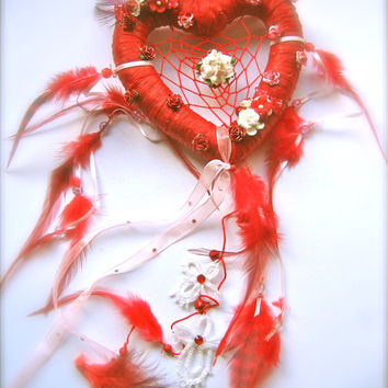 Heart dreamcatcher Dream catcher dreamcatcher red dreamcatcher flowers dreamcatcher boho bohemian handmade Valentine's day