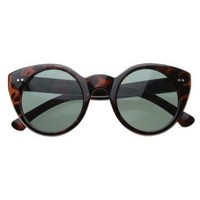 Vintage Inspired Circle Cat Eye Round Sunglasses