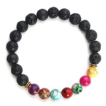 2017 New Natural Black Lava Stone Bracelets 7 Reiki Chakra Healing Balance Beads Bracelet for Men Women Stretch Yoga Jewelry