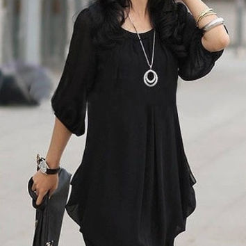 Women's Lady Graceful Mini Dress Chiffon Casual Crew Neck Cocktail Black G0134 Vestidos = 1931614980
