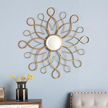 Gold Mirror Decor Home Art Wall Electric Flair Metal Mounted SUNBURST Modern