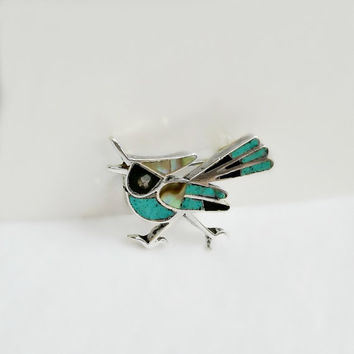 Turquoise Bird Brooch - Native American Brooch - Vintage Bird Pin - Turquoise Inlay Brooch - Sterling Bird Brooch - Abalone Bird Brooch