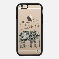 Elephant Geometric Print Wild & Free - Black & White iPhone 6s case by Love Lunch Liftoff | Casetify
