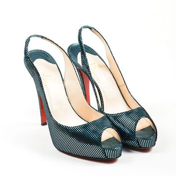 DCCK2 Turquoise Suede Christian Louboutin   No Prive 120   Peep Toe Pumps