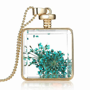Gold Plated Dry Flower Glass Square Bottle Long Pendant Necklace