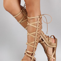 Shoe Republic Elastic Back Gladiator Knee High Flat Sandal