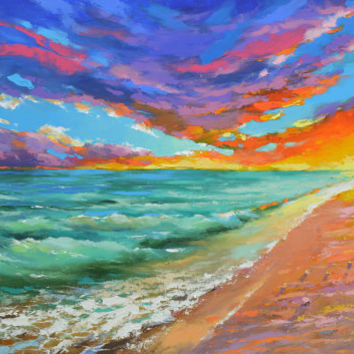SALE Rustle of the sea wind - Original oil painting on canvas by Dmitry Spiros. Seascape Size: 28 x 40 in (70 x 100 cm)
