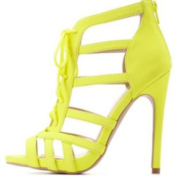 Neon Yellow Strappy Lace-Up Caged Heels by Charlotte Russe