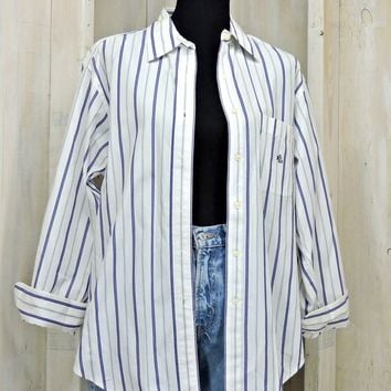 Vintage Ralph Lauren oxford shirt / size L 14 / 80s button down cotton shirt / white blue striped / Classic / Preppy / Retro / Oversized