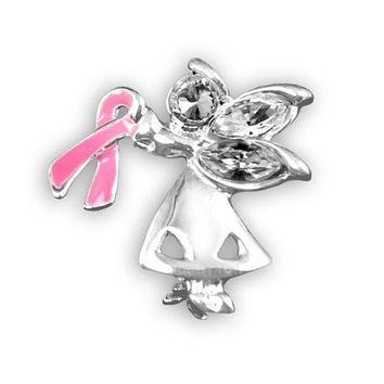 Breast Cancer Pin - Angel By My Side