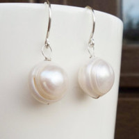 Single Freshwater Pearl Earrings Bridal Dangle Earring Sterling Silver or 14K Gold Filled