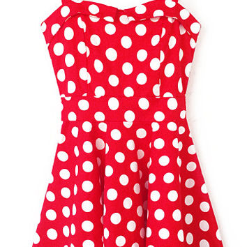Red Polka Dots Sleeveless Skater Mini Dress