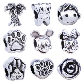New Free Shipping Silver Bead Charm European Mouse Head Boy Tooth Dog Paw Bead Fit Pandora Bracelets & Necklace
