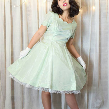 Vintage 50s Homemade Mint Formal Dress
