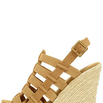 Chinese Laundry Dance Party Camel Suede Leather Wedges