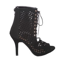 Perforated Cutout Lace Up Open Toe Ankle Booties