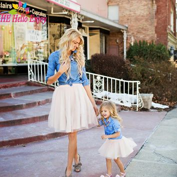 HE Hello Enjoy Mother daughter dresses clothes 2017 family matching outfits fashion long-sleeved denim shirt + tutu skirt 2pcs