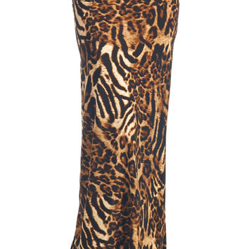82 Days Women'S Poly Span Animal Print Maxi Skirt - Animal Print
